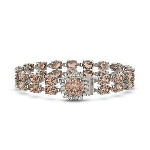 1693 ctw Morganite Diamond Bracelet 14K White Gold