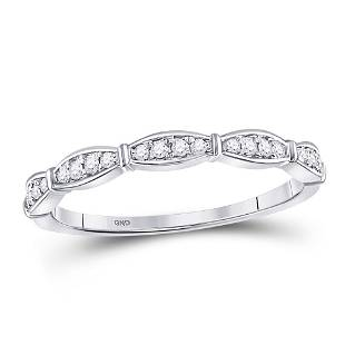 10kt White Gold Round Diamond Stackable Band Ring 18