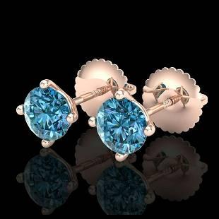 101 ctw Fancy Intense Blue Diamond Art Deco Earrings