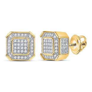 10kt Yellow Gold Mens Round Diamond Square Cluster Stud
