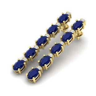 1797 ctw Sapphire VSSI Diamond Tennis Earrings 10K