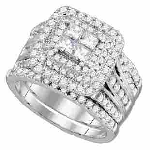 14kt White Gold Princess Diamond Cluster Halo Bridal