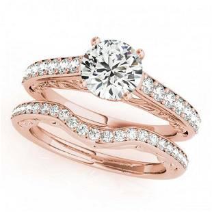 136 ctw VSSI Diamond 2pc Wedding Set 14K Rose Gold