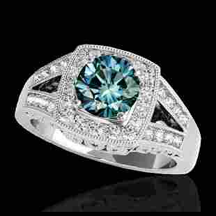 165 ctw SI Fancy Blue Diamond Halo Ring 10K White Gold