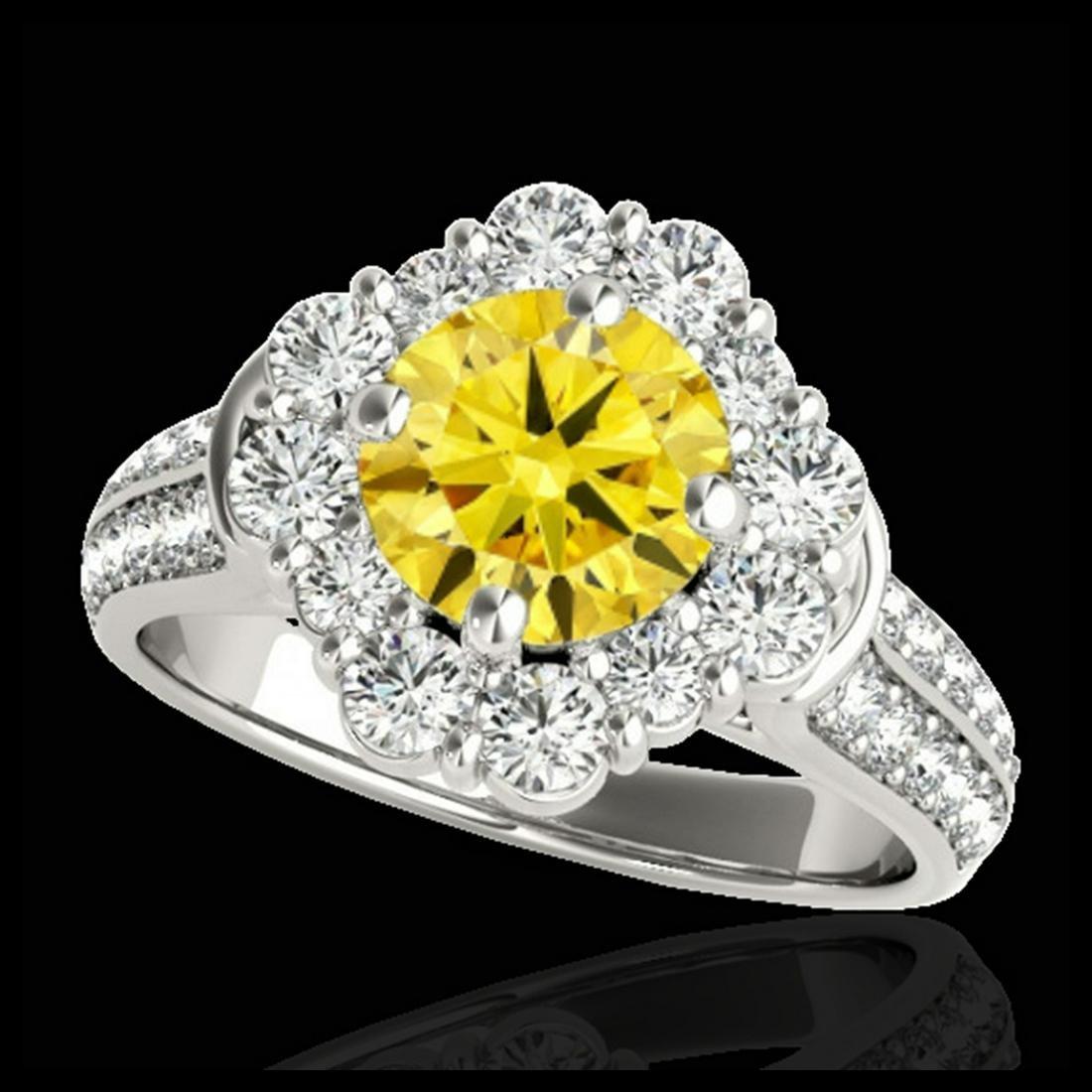 2.16 ctw SI/I Fancy Intense Yellow Diamond Ring 10K