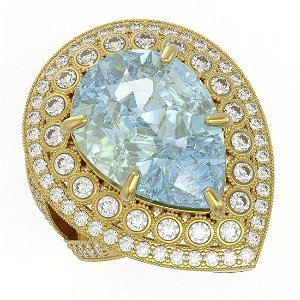 18.04 ctw Sky Topaz & Diamond Ring 14K Yellow Gold