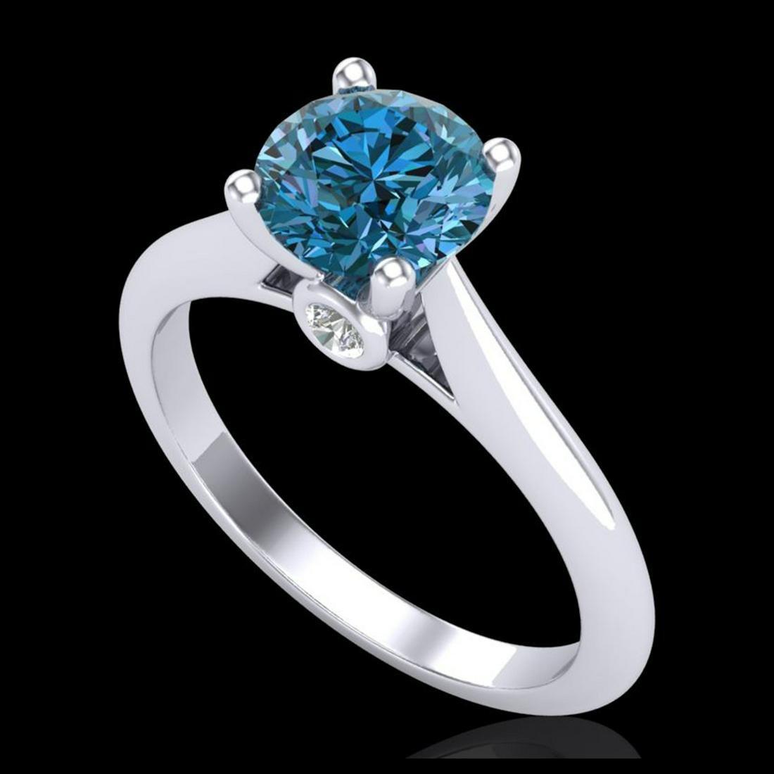 1.36 ctw Fancy Intense Blue Diamond Art Deco Ring 18K