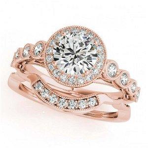 2.03 ctw VS/SI Diamond 2pc Wedding Set Halo 14K Rose