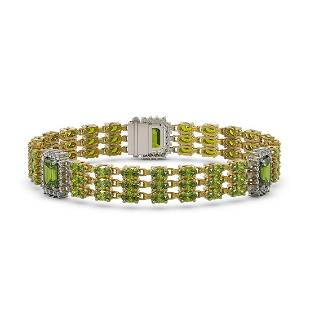 2664 ctw Tourmaline Diamond Bracelet 14K Yellow Gold