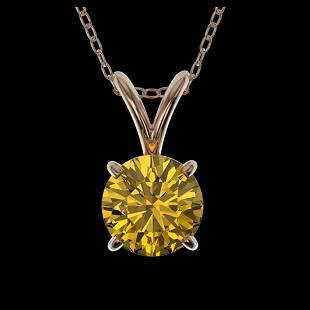 079 ctw Intense Yellow Diamond Necklace 10K Rose Gold