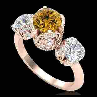 3 ctw Intense Yellow Diamond Art Deco 3 Stone Ring 18K