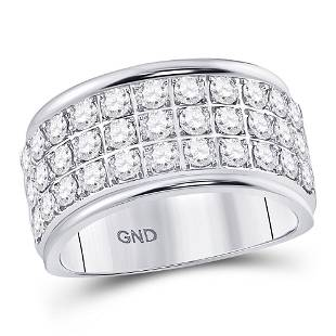 10kt White Gold Round Diamond Triple Row Band Ring 34