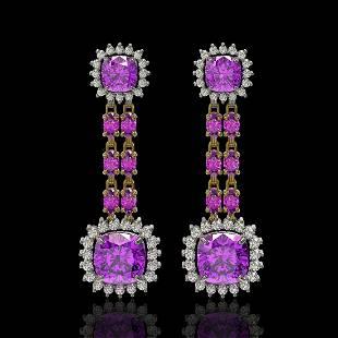 1896 ctw Amethyst Diamond Earrings 14K Yellow Gold