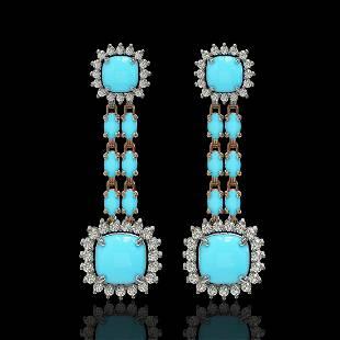 1604 ctw Turquoise Diamond Earrings 14K Rose Gold