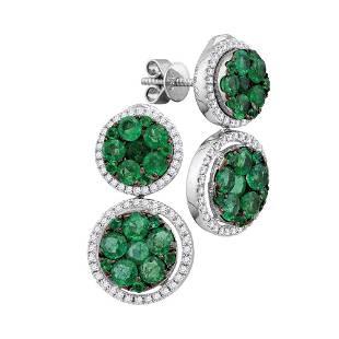 18kt White Gold Round Emerald Diamond Convertible