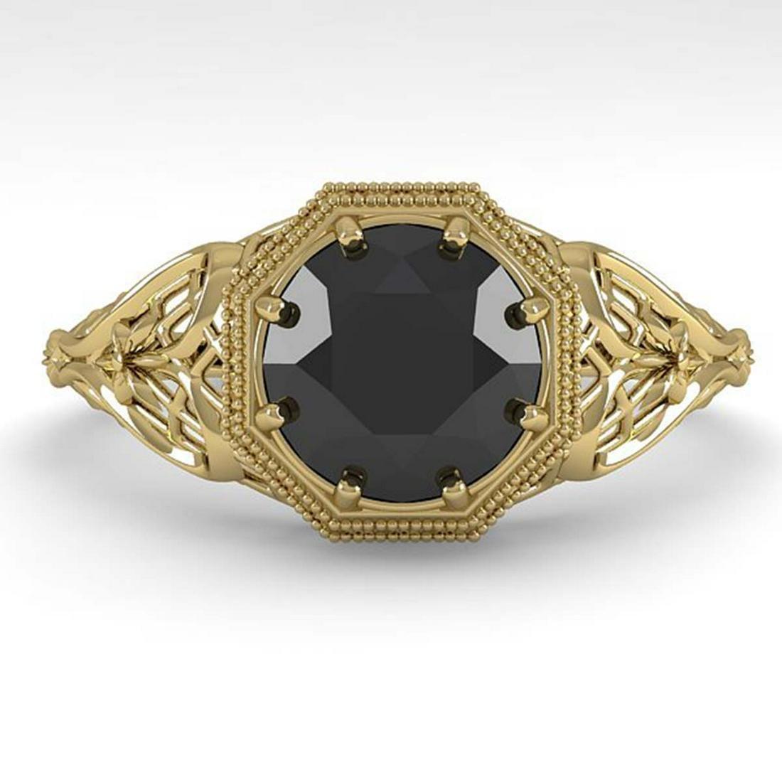 1.50 ctw Black Diamond Ring Deco 18K Yellow Gold