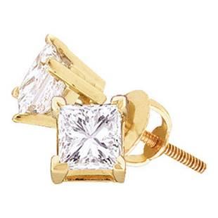 14kt Yellow Gold Unisex Princess Diamond Solitaire Stud