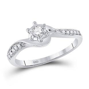10kt White Gold Round Diamond Solitaire Bridal Wedding