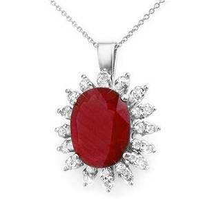 825 ctw Ruby Diamond Pendant 18K White Gold