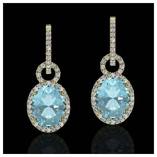 6 ctw Aquamarine VSSI Diamond Earrings 14K Yellow