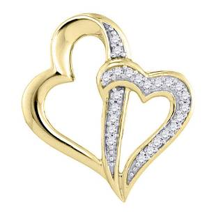 10kt Yellow Gold Round Diamond Double Linked Heart