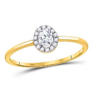 10kt Yellow Gold Oval Diamond Solitaire Stackable Band