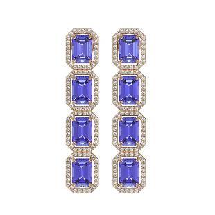 1193 ctw Tanzanite Diamond Halo Earrings 10K Rose