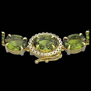 3525 ctw Green Tourmaline VSSI Diamond Necklace 14K