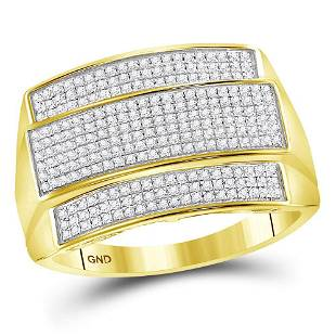 10kt Yellow Gold Mens Round Diamond Rectangle Cluster