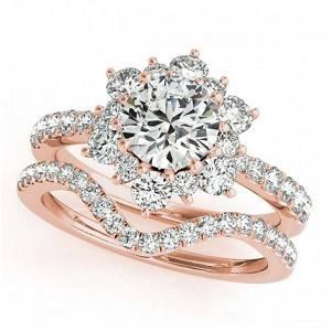 2.41 ctw VS/SI Diamond 2pc Wedding Set Halo 14K Rose