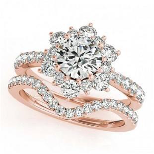 241 ctw VSSI Diamond 2pc Wedding Set Halo 14K Rose
