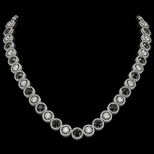 3210 ctw Black Diamond Necklace 18K White Gold