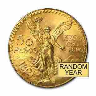 Mexico Gold 50 Pesos AGW 12057 Random Year