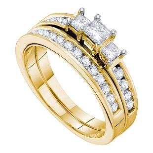 14kt Yellow Gold Princess Diamond 3stone Bridal