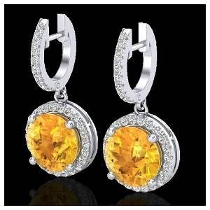 4 ctw Citrine & VS/SI Diamond 18K White Gold