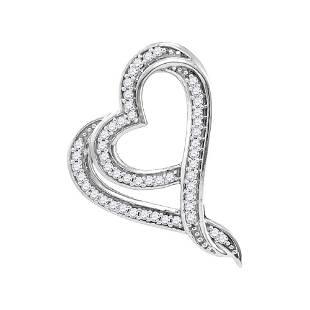 10kt White Gold Round Diamond Heart Pendant 18 Cttw