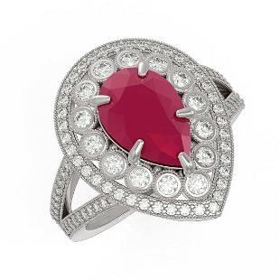 512 ctw Ruby Diamond Ring 14K White Gold