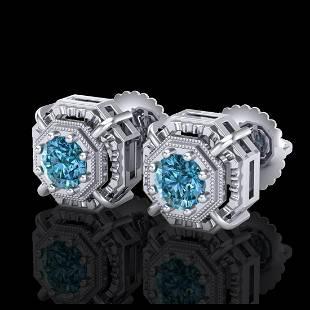 111 ctw Fancy Intense Blue Diamond Art Deco Earrings