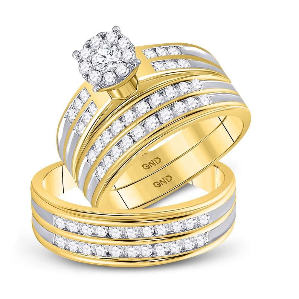 10kt Yellow Gold His & Hers Round Diamond Cluster