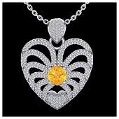 3 ctw Citrine With Diamond Heart Necklace 14K White