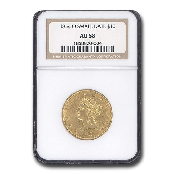 1854-O $10 Liberty Gold Eagle AU-58 NGC (Small Date)