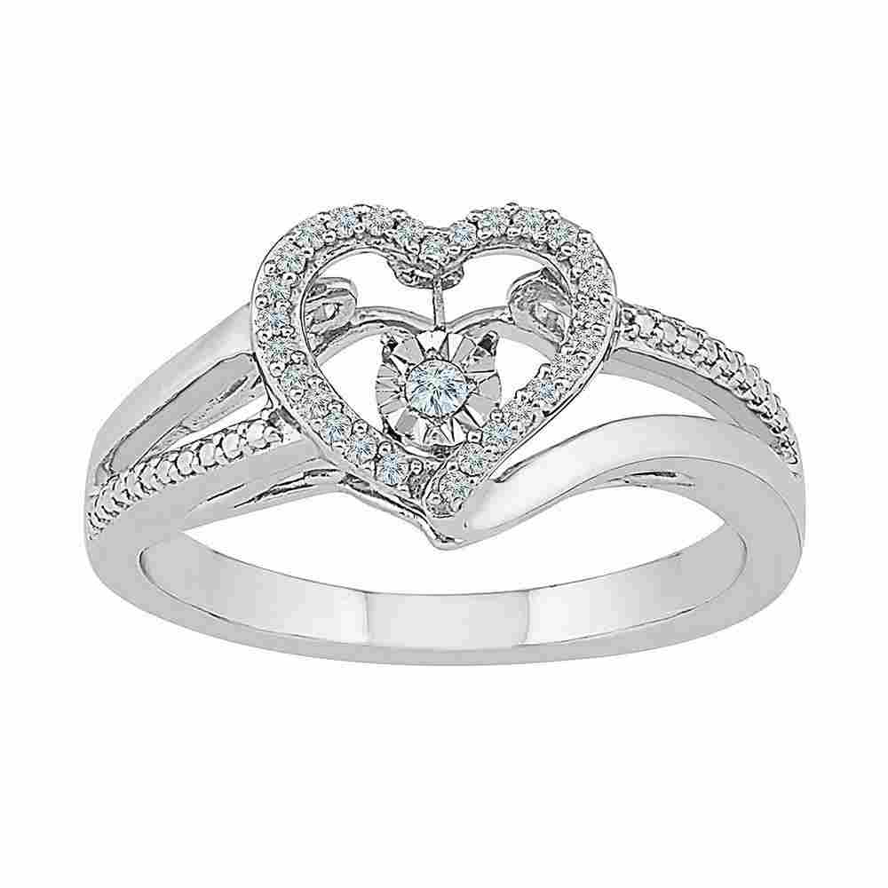 10kt White Gold Round Diamond Heart Moving Twinkle Ring