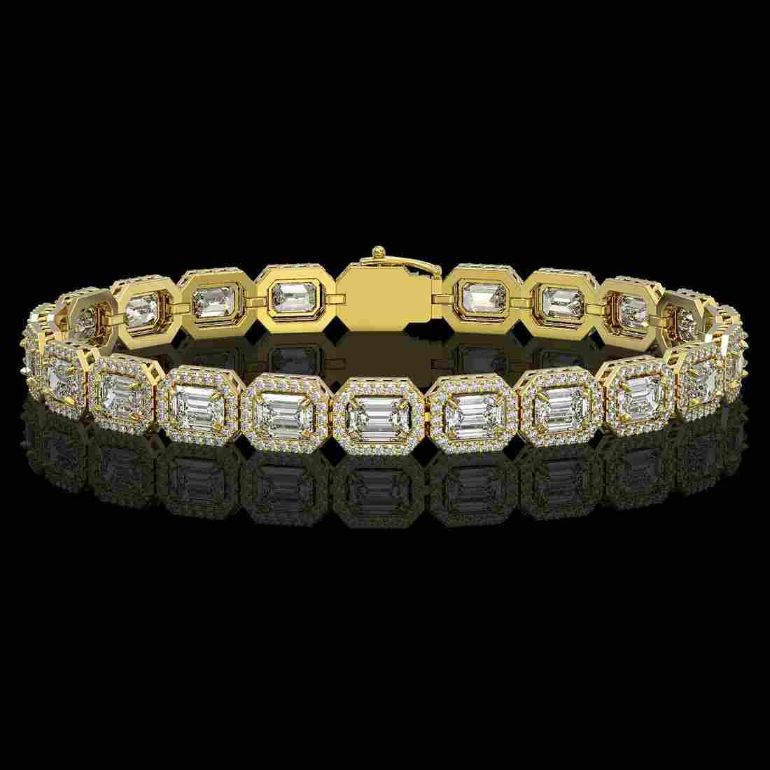 14.57 ctw Emerald Diamond Bracelet 18K Yellow Gold