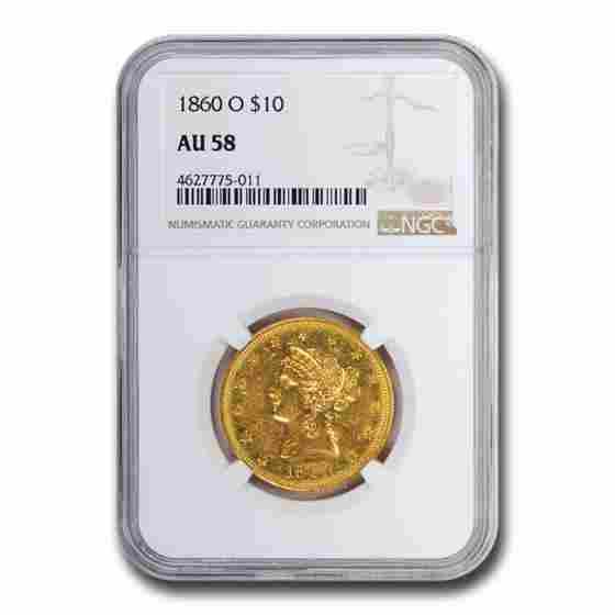 1860-O $10 Liberty Gold Eagle AU-58 NGC