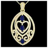 350 ctw Sapphire  VSSI Diamond Heart Necklace 18K