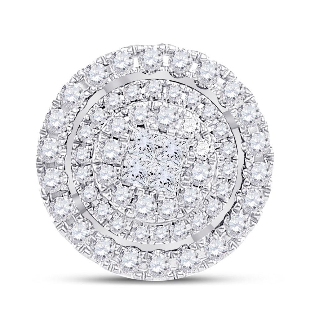 14kt Yellow Gold Princess Diamond Fashion Halo Cluster