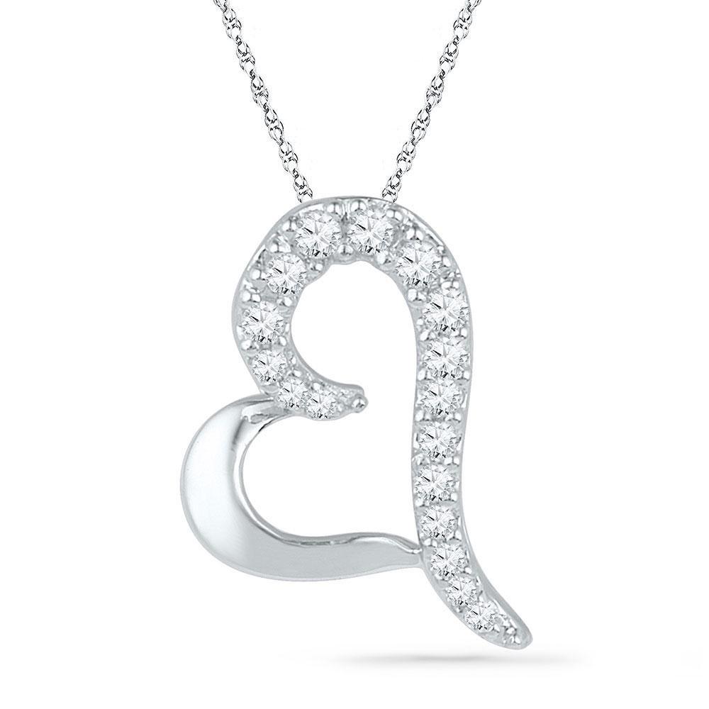 10kt White Gold Round Diamond Heart Pendant 1/12 Cttw