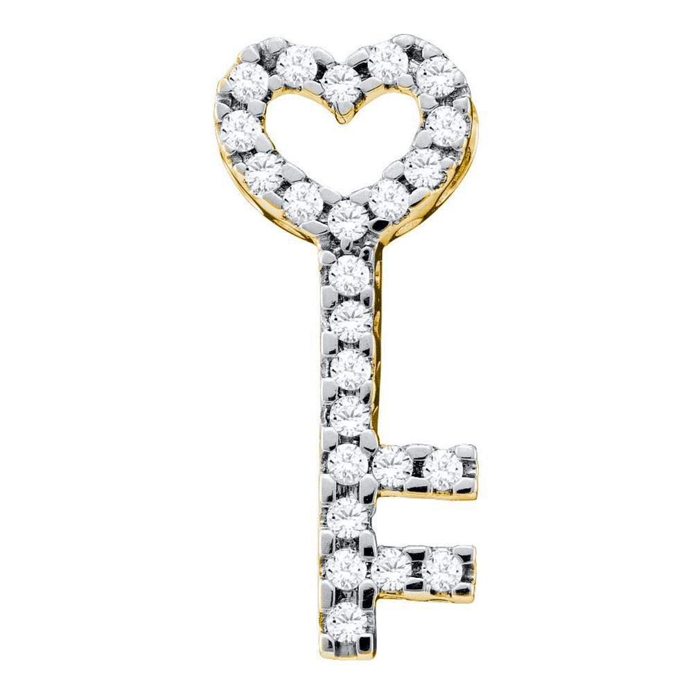 10kt Yellow Gold Round Diamond Key Heart Pendant 1/4