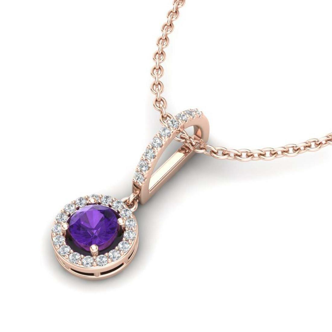 1 ctw Amethyst & Halo VS/SI Diamond Necklace 14K Rose