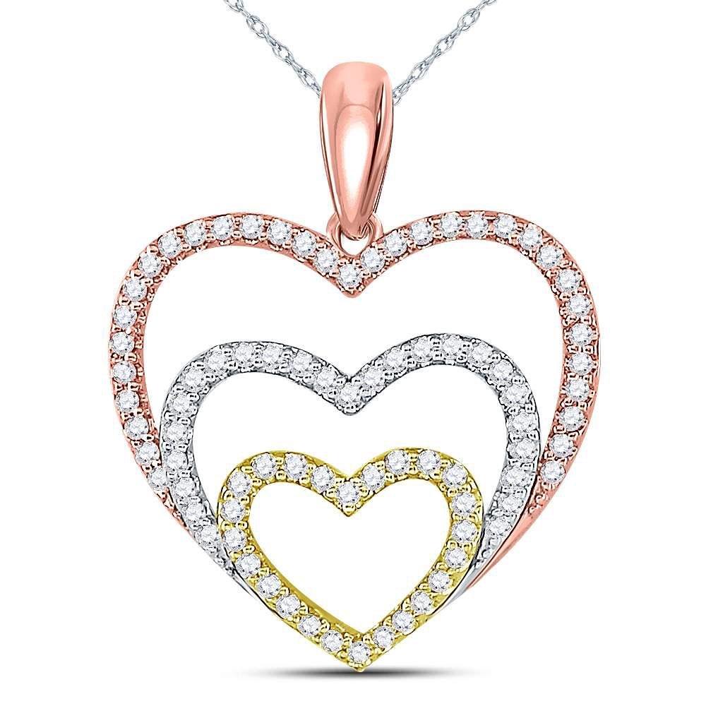 10kt Tri-Tone Gold Round Diamond Triple Nested Heart